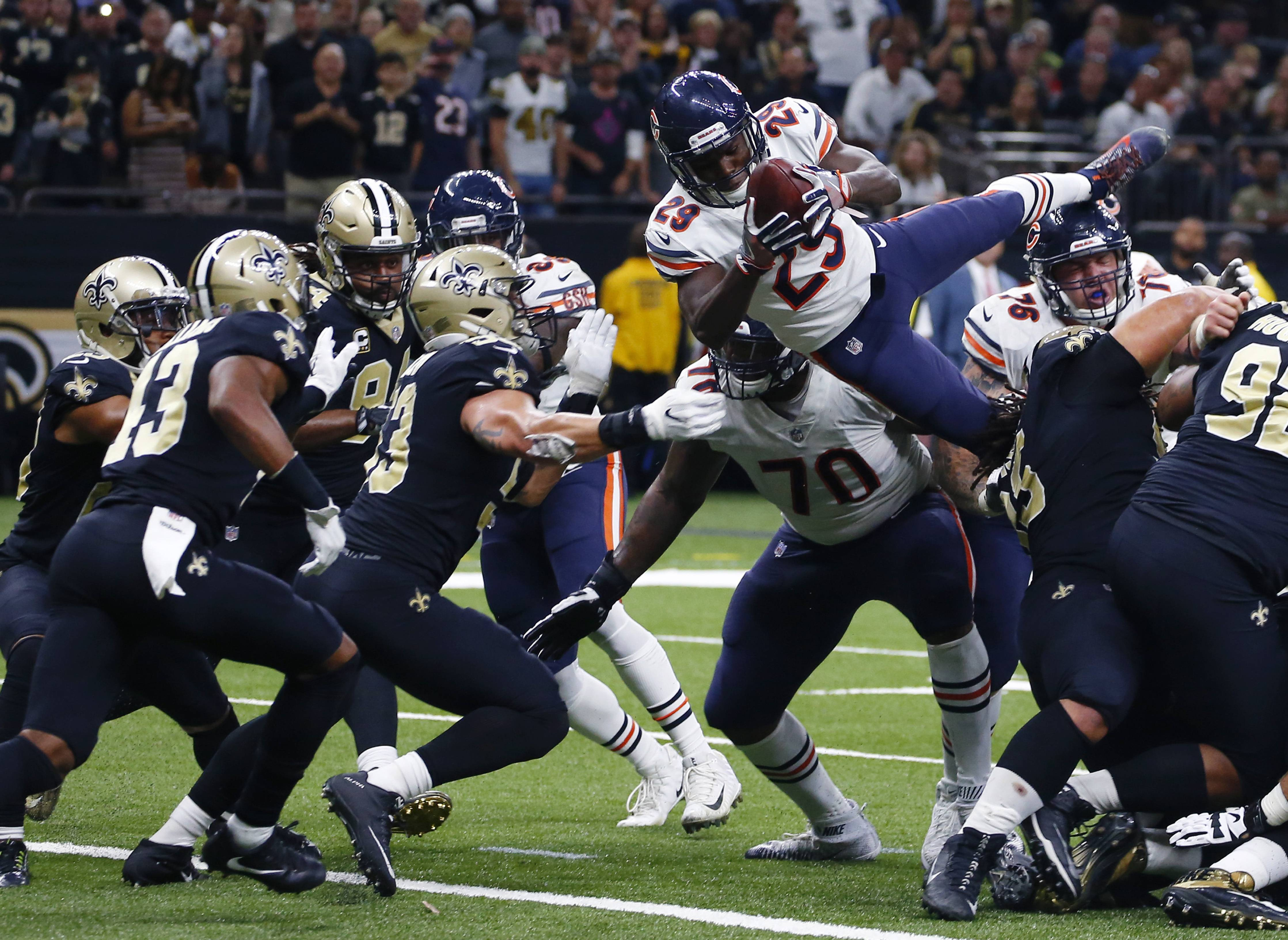 Chicago Bears running back Tarik Cohen (29) dives into the end zone for a touchdown in the second half of an NFL football game against the New Orleans Saints in New Orleans, Sunday, Oct. 29, 2017.