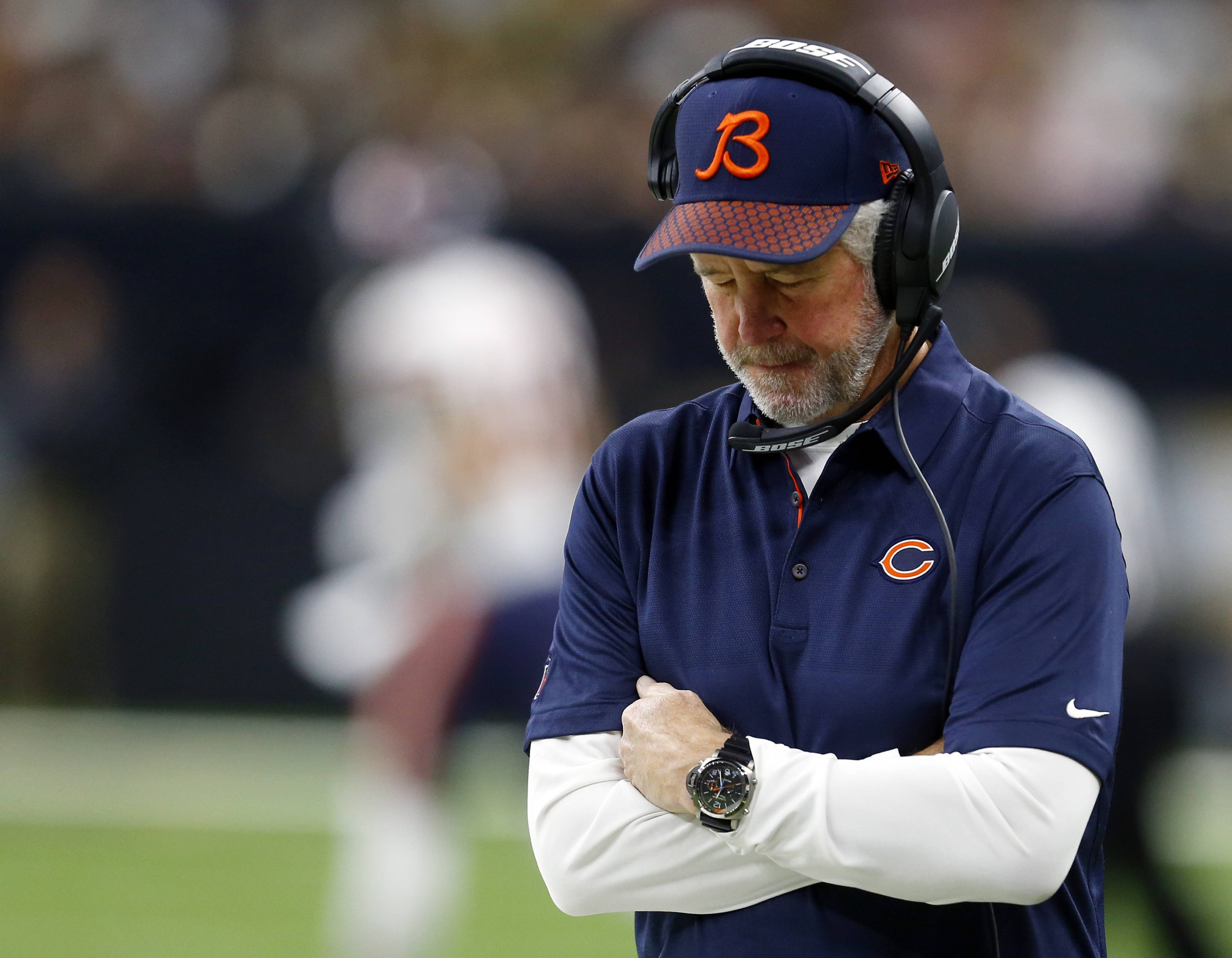 Chicago Bears head coach John Fox walks on the sideline in the first half of an NFL football game against the New Orleans Saints in New Orleans, Sunday, Oct. 29, 2017.