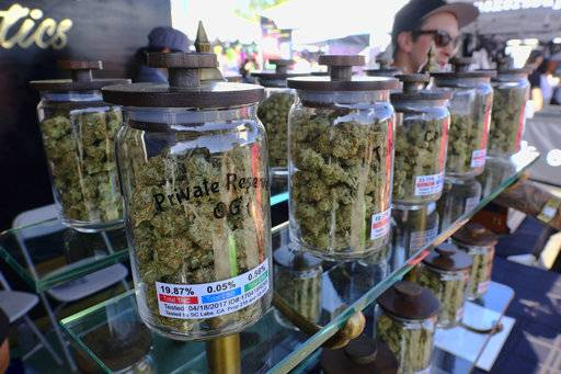 FILE - In this April 23, 2017, file photo, large jars of marijuana are on display for sale at the Cali Gold Genetics booth during the High Times Cannabis Cup in San Bernardino, Calif. California is kicking off recreational marijuana sales on Jan. 1, 2018, but there will be plenty of confusion as the new market takes shape. Some places are banning sales, while only a small number appear ready to issue licenses. (AP Photo/Richard Vogel, File)
