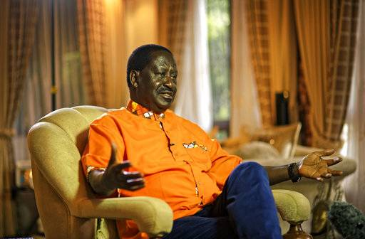 Opposition leader Raila Odinga speaks to the Associated Press at his home in Karen, on the outskirts of Nairobi, Kenya, Sunday, Oct. 29, 2017. Odinga has said in an interview with The Associated Press that the repeat presidential election was a sham and that a new vote should be held within 90 days. (AP Photo/Ben Curtis)