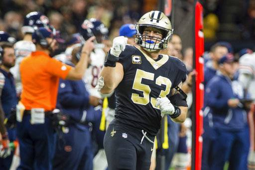 New Orleans Saints linebacker AJ Klein celebrates after a play against the Chicago Bears during an NFL football game Sunday, Oct. 29, 2017, in New Orleans. (Scott Clause/The Daily Advertiser via AP)