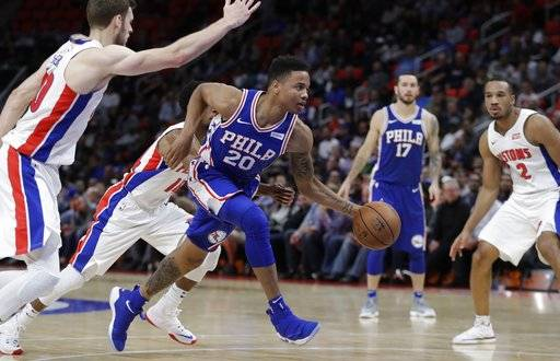 Philadelphia 76ers guard Markelle Fultz (20) drives to the basket during the second half of an NBA basketball game against the Detroit Pistons, Monday, Oct. 23,2017, in Detroit. (AP Photo/Carlos Osorio)