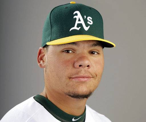 FILE - This 2014 file photo shows Oakland Athletics catcher Bruce Maxwell. Maxwell was arrested Saturday, Oct. 28, 2017, in Scottsdale, Ariz., after a female food delivery person alleged he pointed a gun at her. (AP Photo/ Gregory Bull, File)