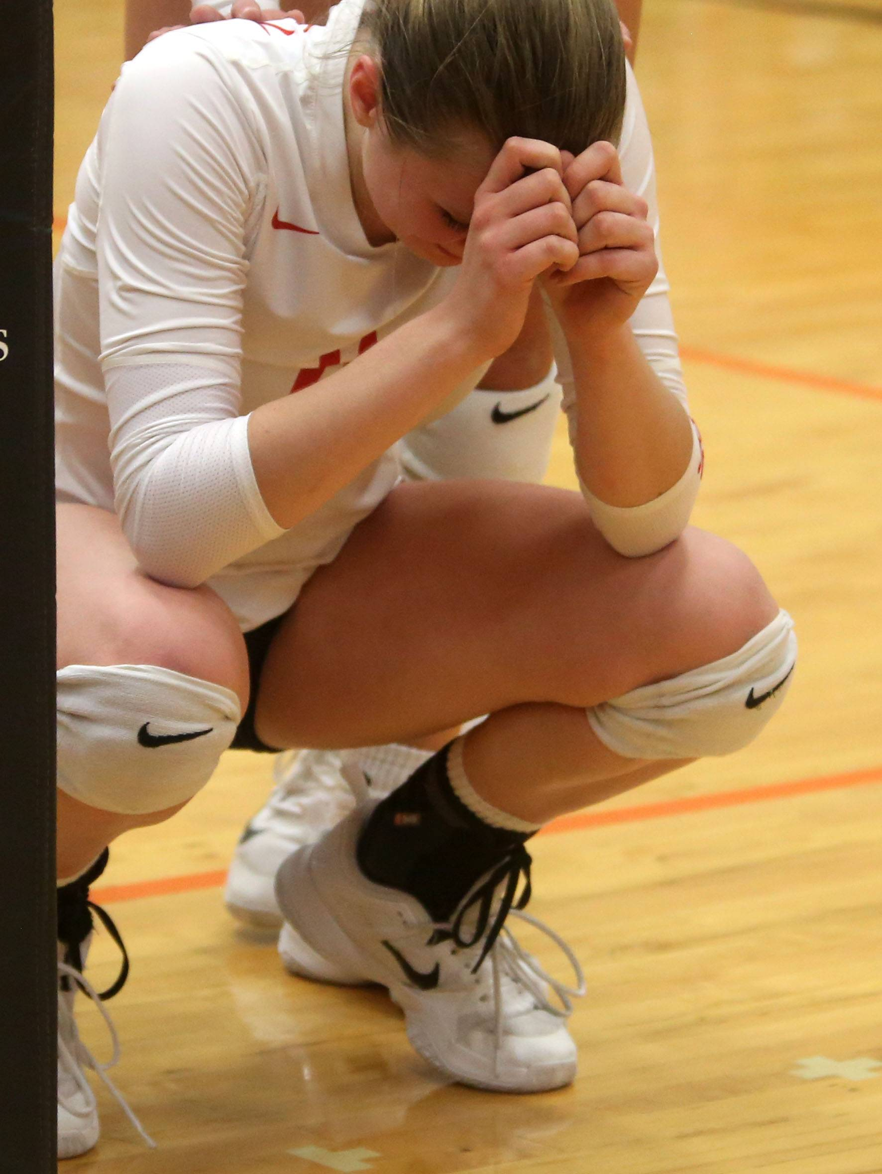 Huntley's Aleah Amelio gathers her thoughts after a season-ending loss to St. Charles East during sectional semifinal varsity volleyball action at Chuck Dayton Gymnasium on the campus of DeKalb High School Monday night.