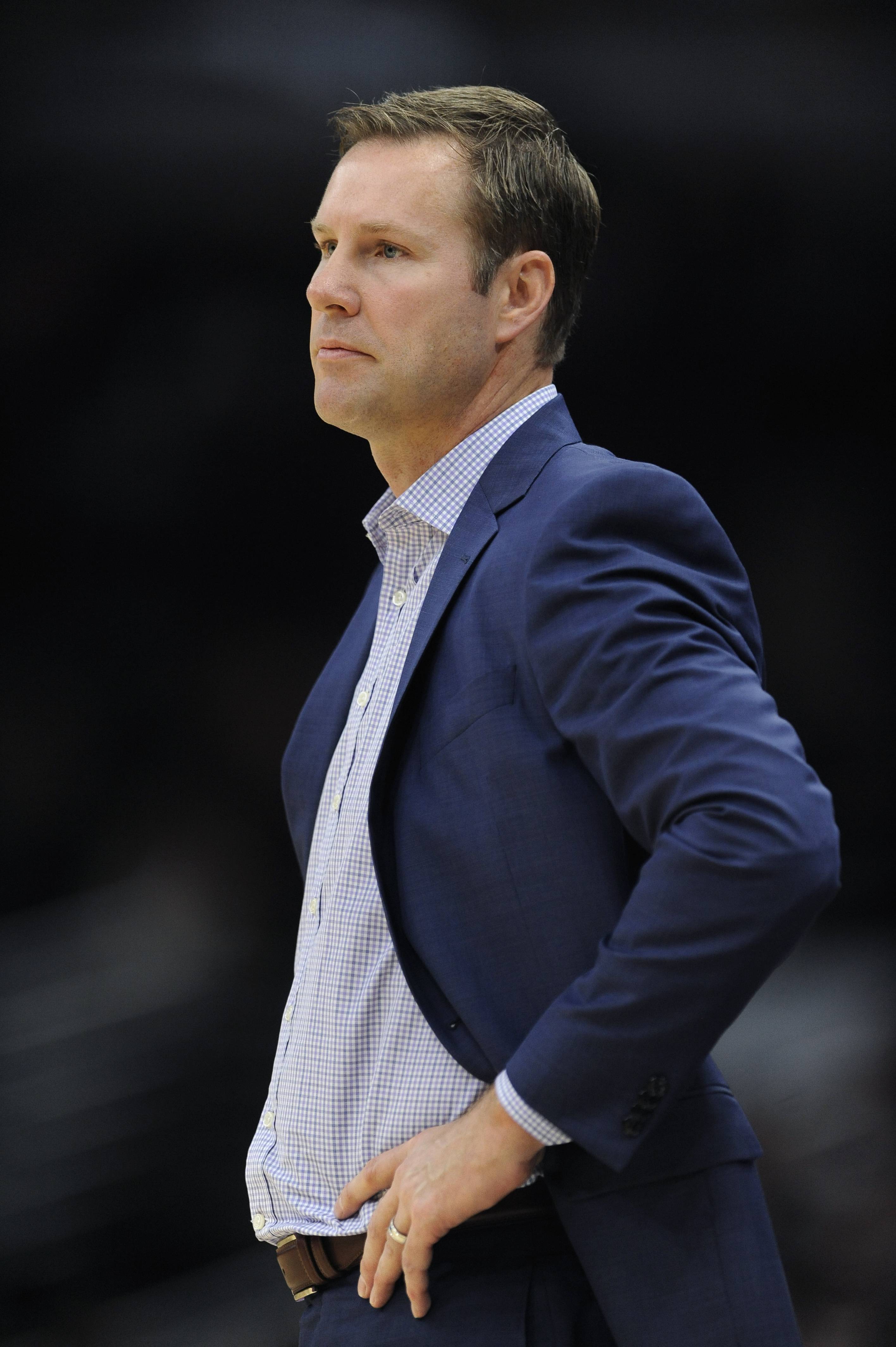 Chicago Bulls head coach Fred Hoiberg looks on during the second half of an NBA basketball game against the Oklahoma City Thunder, Saturday, Oct. 28, 2017, in Chicago.