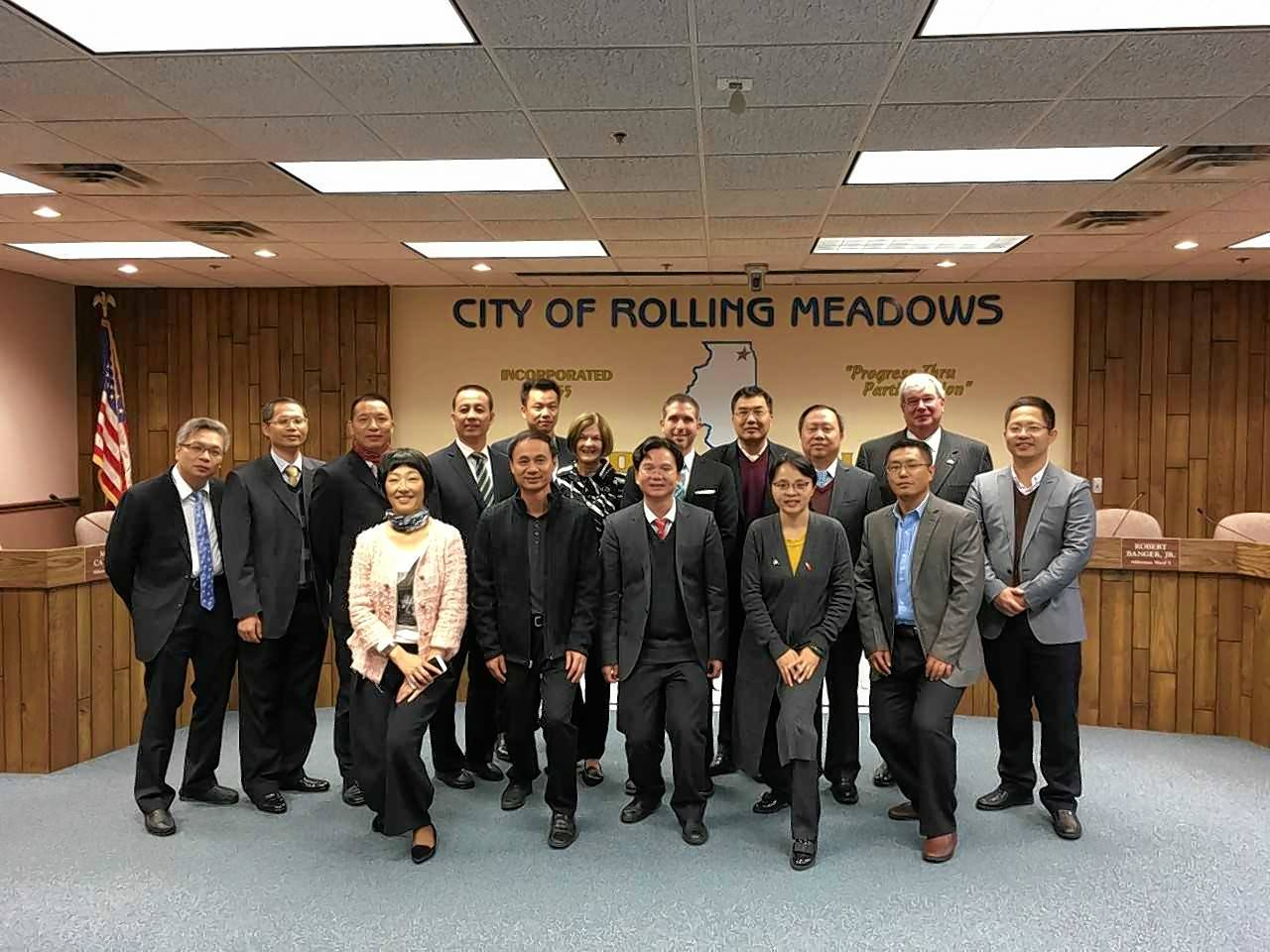 A Chinese delegation of 14 governmental officials from Zhuhai Innovation/High Tech Industrial Development Zone visited Rolling Meadows.