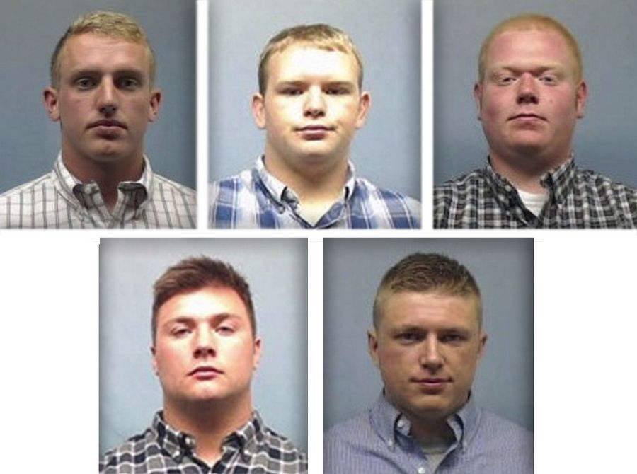 Suspended Wheaton College football players James Cooksey, Kyler Kregel and Ben Pettway, top row from left, and Noah Spielman and Samuel TeBos face felony charges after being accused in a 2016 hazing of a teammate.