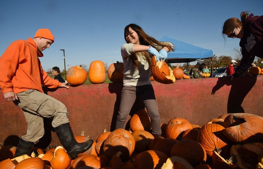 From left, compost specialist Vytas Pabedinskas, and environmental club members Stephanie Luz and Sandra Emmerling, pack down a dumpster of pumpkins during a collection event last year at the College of Lake County. The collection takes place again this year, from 9 a.m. to 1 p.m. Saturday.