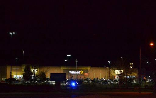 Several people were killed in a shooting inside a Walmart, forcing customers to either hide in the store or frantically run for the doors, Wednesday, Nov. 1, 2017, in Thornton, Colo. Thornton police advised people to stay away from the area as dozens of police cruisers and emergency vehicles raced to the scene.