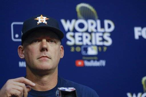 Houston Astros manager A.J. Hinch answers questions before Game 4 of baseball's World Series against the Los Angeles Dodgers Saturday, Oct. 28, 2017, in Houston.