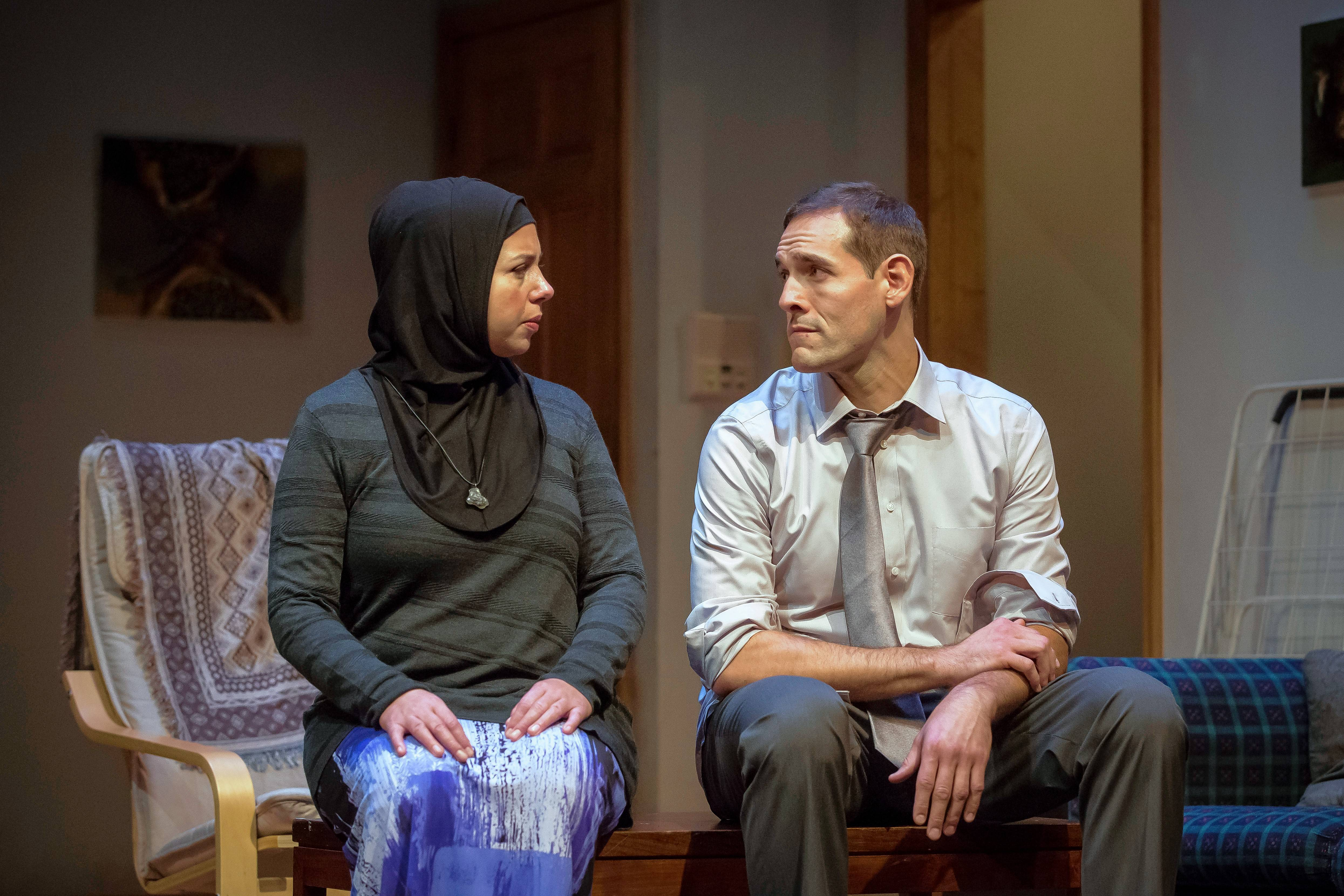 "Susaan Jamshidi and Michael Perez play a Muslim couple tentatively exploring a romance their parents arranged in ""Yasmina's Necklace"" by Rohina Malik."