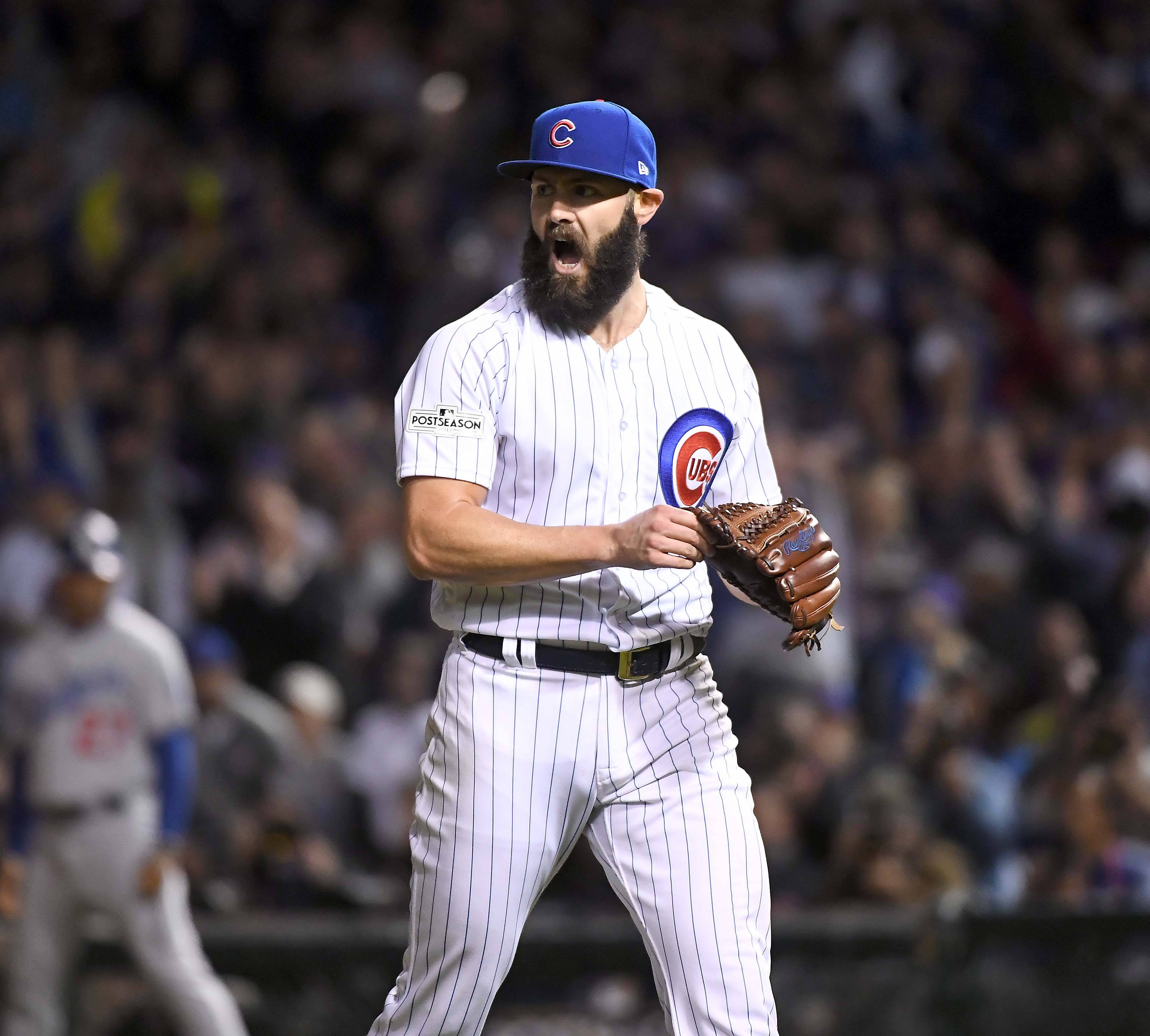 Chicago Cubs starting pitcher Jake Arrieta (49) reacts at end of the 6th inning during Game 4 of the National League Championship Series, Oct, 18 2017, at Wrigley Field in Chicago.
