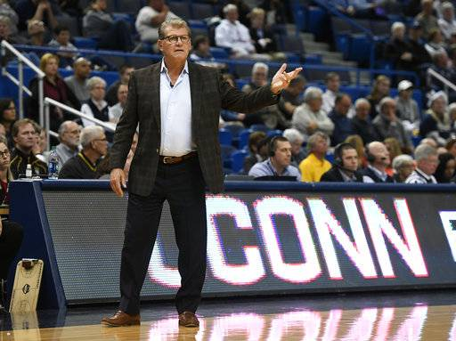 Connecticut head coach Geno Auriemma gestures during the first half of an NCAA exhibition college basketball game against Fort Hays, Wednesday, Nov. 1, 2017, in Hartford, Conn. (AP Photo/Jessica Hill)