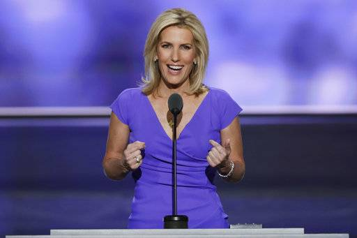 FILE - In this July 20, 2016 file photo, Conservative political commentator Laura Ingraham speaks during the third day of the Republican National Convention in Cleveland. President Donald Trump granted an interview Thursday to Laura Ingraham of Fox News Channel. It's by far his venue of choice when he chooses to answer questions one-on-one. Ingraham's interview airs at 10 o'clock on Fox. It's the first week of her new show. (AP Photo/J. Scott Applewhite, File)