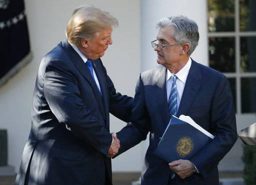President Donald Trump shakes hands with Federal Reserve board member Jerome Powell after announcing him as his nominee for the next chair of the Federal Reserve, in the Rose Garden of the White House in Washington, Thursday, Nov. 2, 2017.