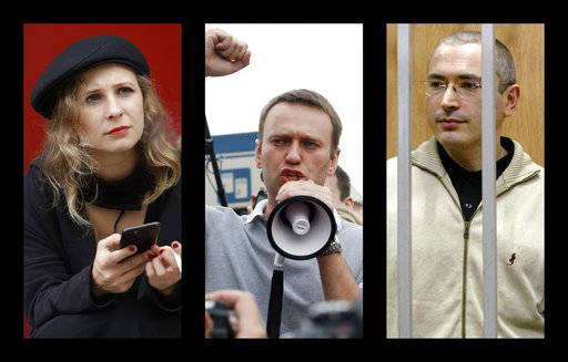 "This combination of photos shows from left, punk band Pussy Riot member Maria Alekhina, anti-corruption campaigner Alexei Navalny and oil tycoon-turned-Kremlin foe Mikhail Khodorkovsky. These three were among the Russian targets of the hacking group Fancy Bear. Vasily Gatov, a media analyst who was himself among the Russian targets, said the notion that anyone outside the Kremlin was responsible for Fancy Bear's hit list ""would be very difficult to argue _ extremely difficult to argue.� (AP Photo)"
