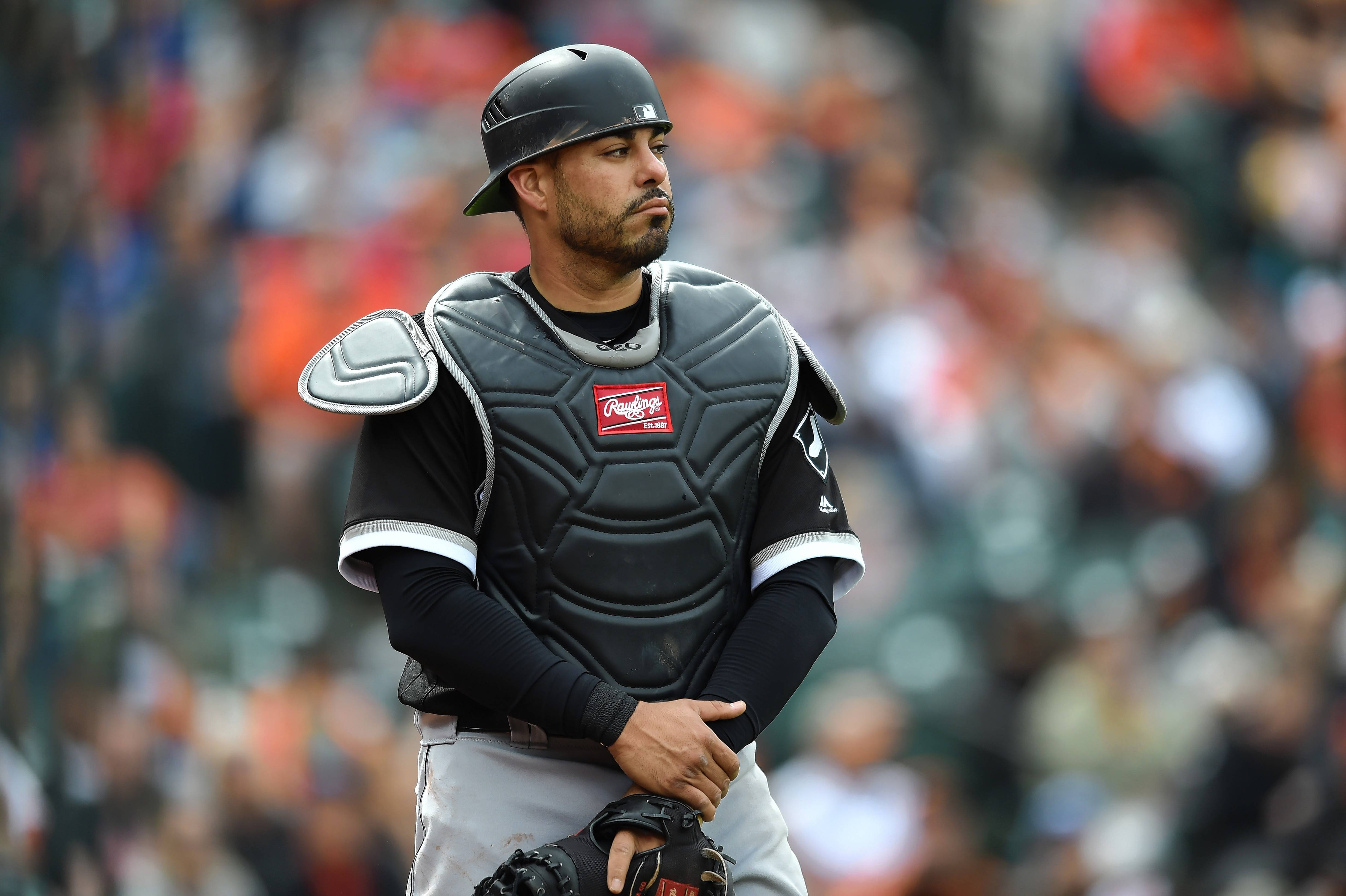 Chicago White Sox's catcher Geovany Soto looks on between innings during a baseball game against the Baltimore Orioles, Sunday, May 7, 2017, in Baltimore.