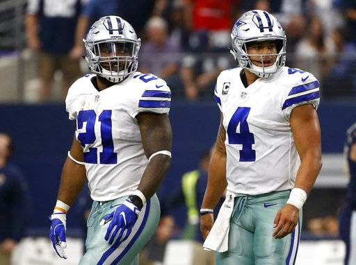FILE - In this Oct. 1, 2017, file photo, Dallas Cowboys running back Ezekiel Elliott (21) and quarterback Dak Prescott (4) walk off the field after an unsuccessful two-point conversion in the second half of an NFL football game against the Los Angeles Rams in Arlington, Texas. Barring a late legal change, Prescott is set to operate the Dallas offense for six games without suspended running back Ezekiel Elliott. The Cowboys quarterback says he will be prepared for the first separation of last year's dynamic rookie combo, starting Sunday, Nov. 5, against Kansas City.(AP Photo/Ron Jenkins, File)