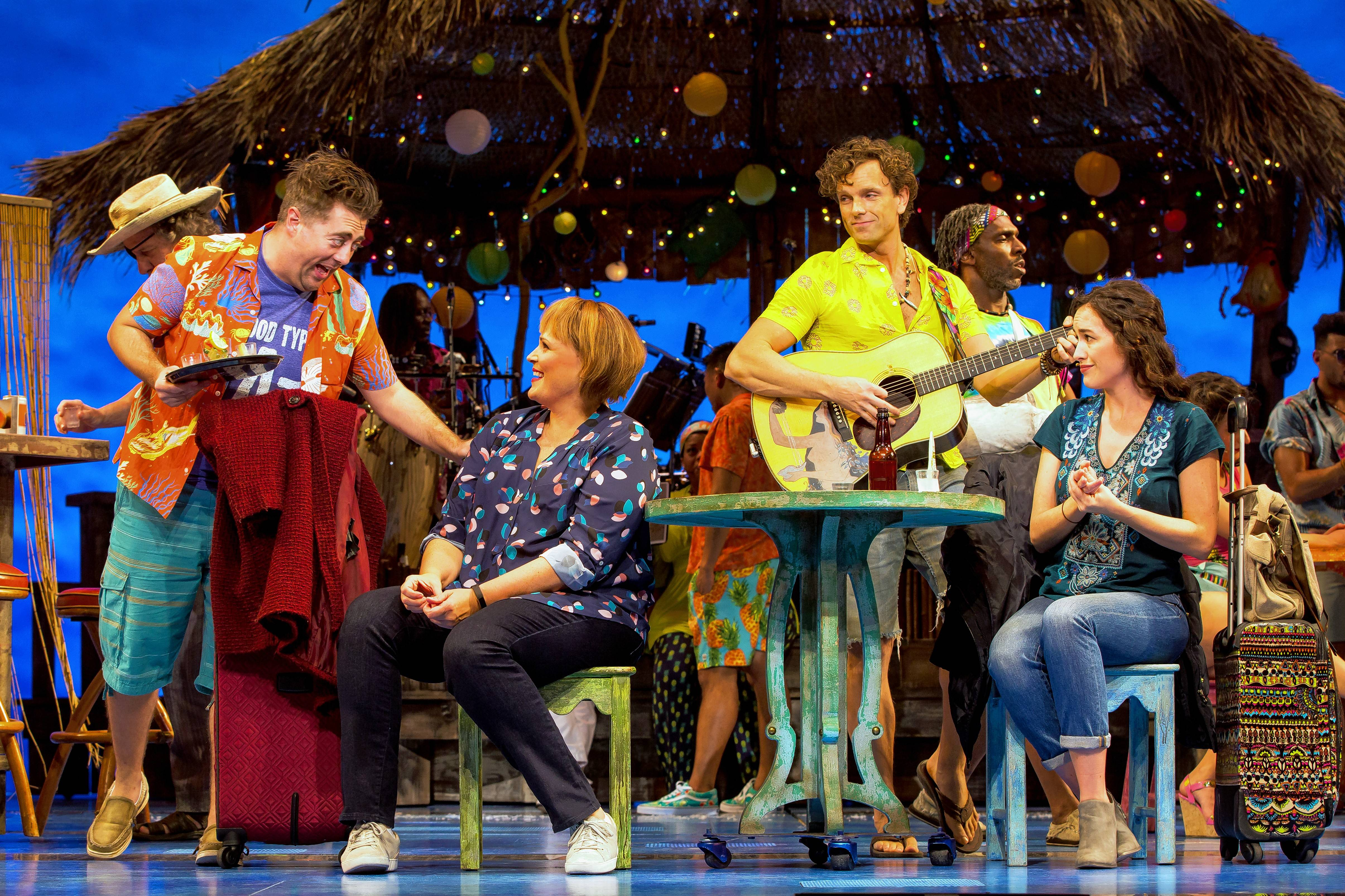 """Escape to Margaritaville,"" the new musical featuring songs by Jimmy Buffett, inset, stops in Chicago on its way to Broadway."