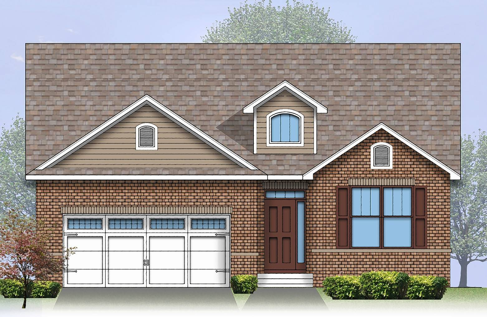 The Larkspur is another of the designs at The Enclave at Mill Creek. Two of the five ranch plans can be modified to add a second story.