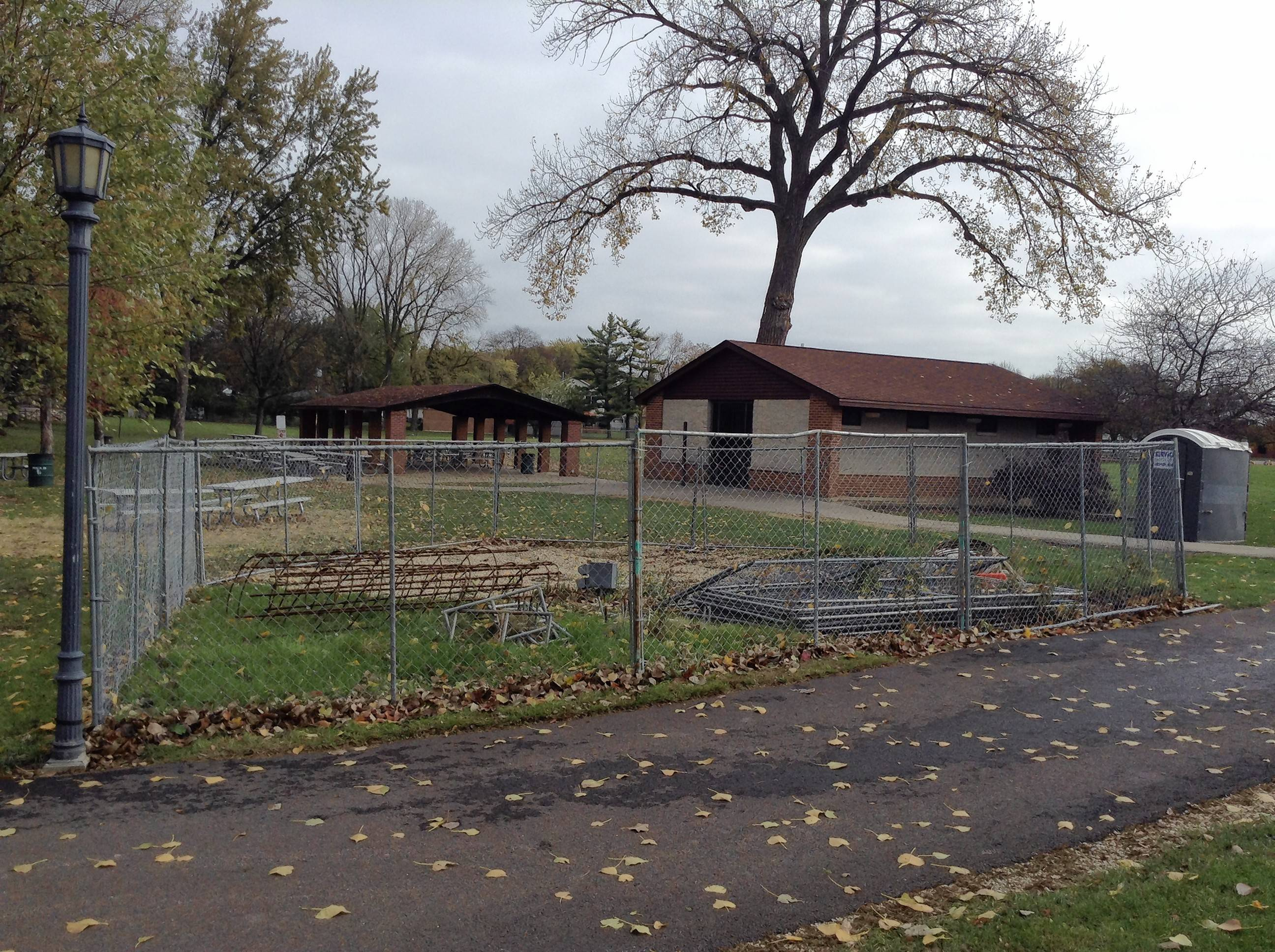 Fencing surrounds the location of a former wooden gazebo removed last year in Kimball Hill Park. The Rolling Meadows Park District plans to install a new one as soon as this weekend.