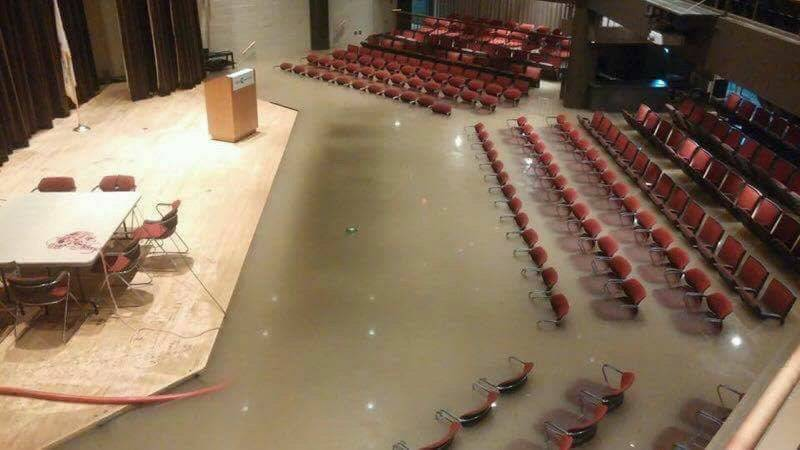 A seminar on climate change will be the first event after an auditorium at College of Lake County was closed after it was flooded from heavy rains in July.