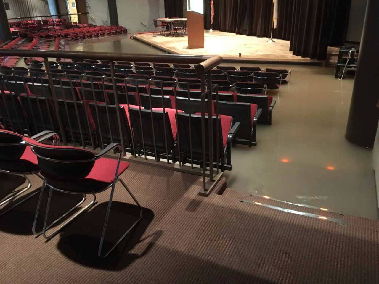 An auditorium at College of Lake County in Grayslake was flooded from heavy rains in July.