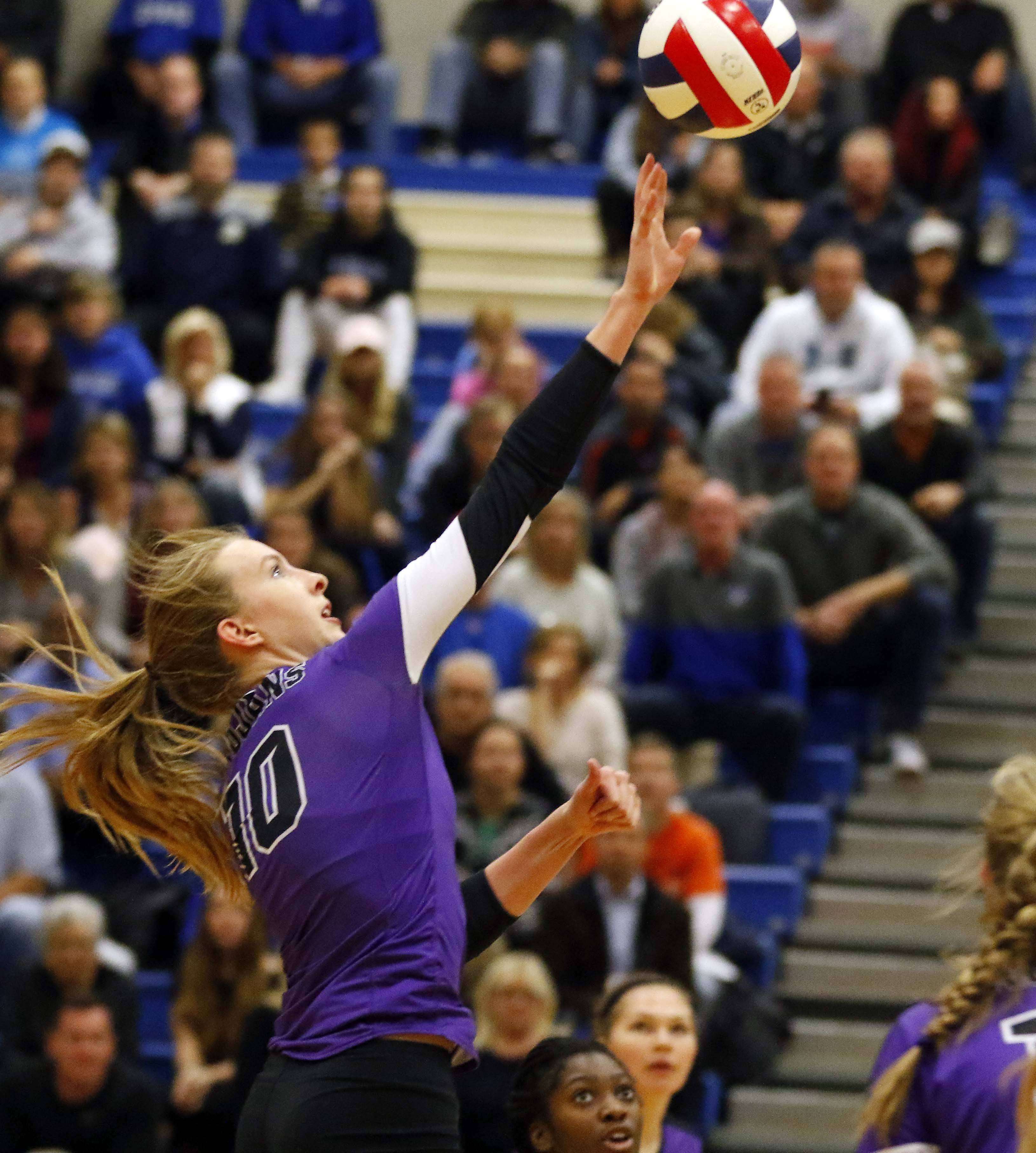 Downers Grove North's Margaret Mahlke (10) Friday in the Geneva volleyball supersectional.