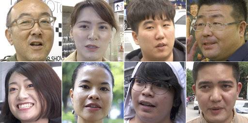 In this combination of images made from video, top row, from left to right: Yoh Kawakami and Yumu Katsuyama from Japan; Ock Hyun-woong from South Korea; Ding Chenling and Zhao Yingran from China; Bach Ngoc Lien from Vietnam; Jeanne Vivar and Lorenzo Nakpil from the Philippines; are interviewed by the Associated Press about President Donald Trump's upcoming visit to Asia. (AP Photo)