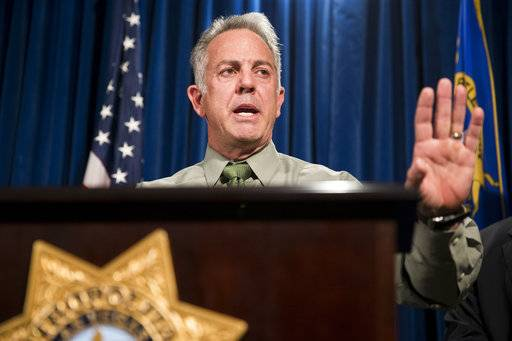"FILE--In this 0ct. 9, 2017, file photo, Clark County Sheriff Joe Lombardo discusses the Route 91 Harvest festival mass shooting at the Las Vegas Metropolitan Police Department headquarters in Las Vegas. Lombardo says the gunman who killed 58 people at a concert last month had lost a significant amount of money in the previous two years and that it may be a ""determining factor"" in the worst mass shooting in modern U.S. history. (Erik Verduzco/Las Vegas Review-Journal via AP, file)"