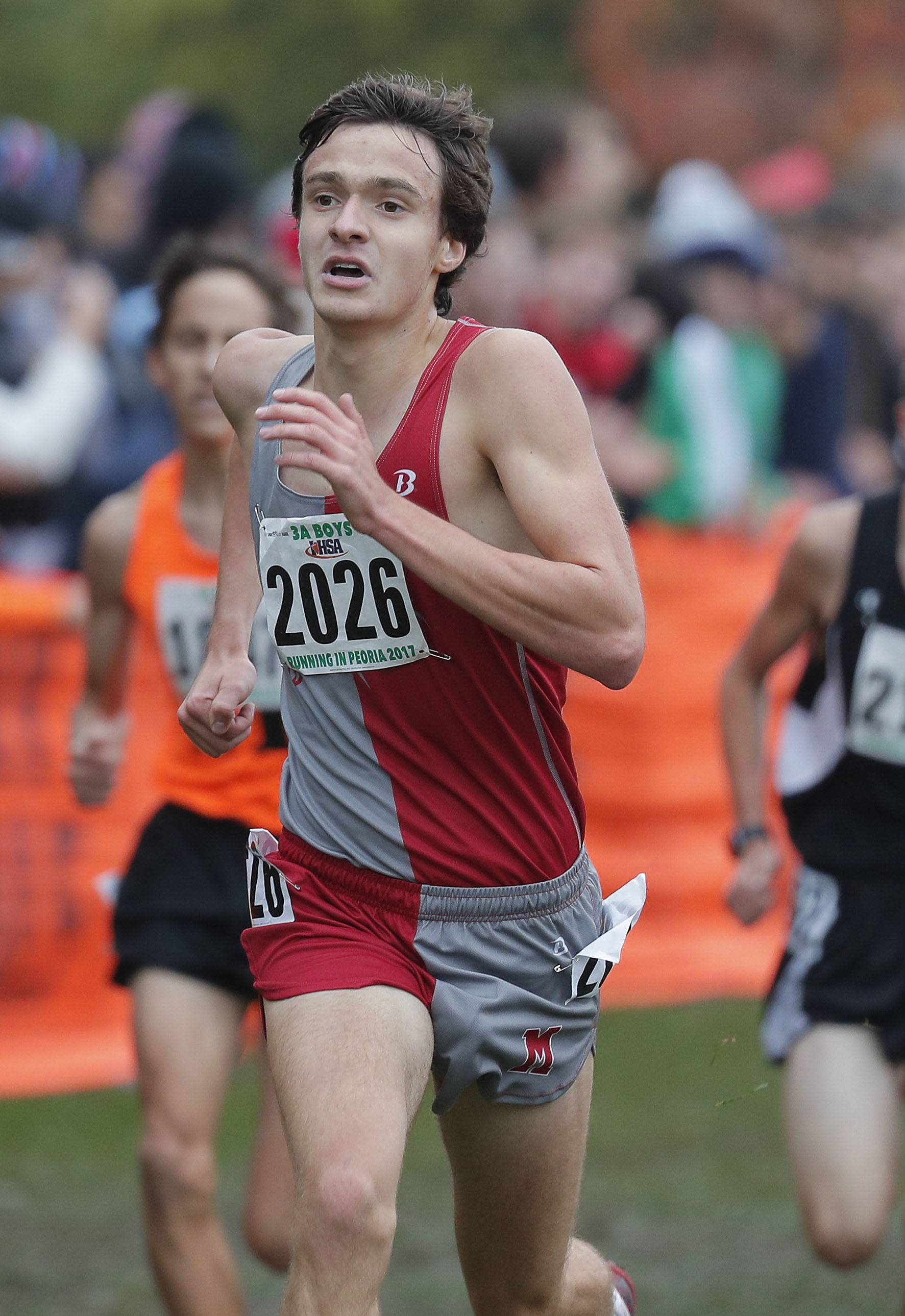 Mundelein's Robert St. Clair powers to the finish during the Class 3A boys cross country finals Saturday in Peoria.