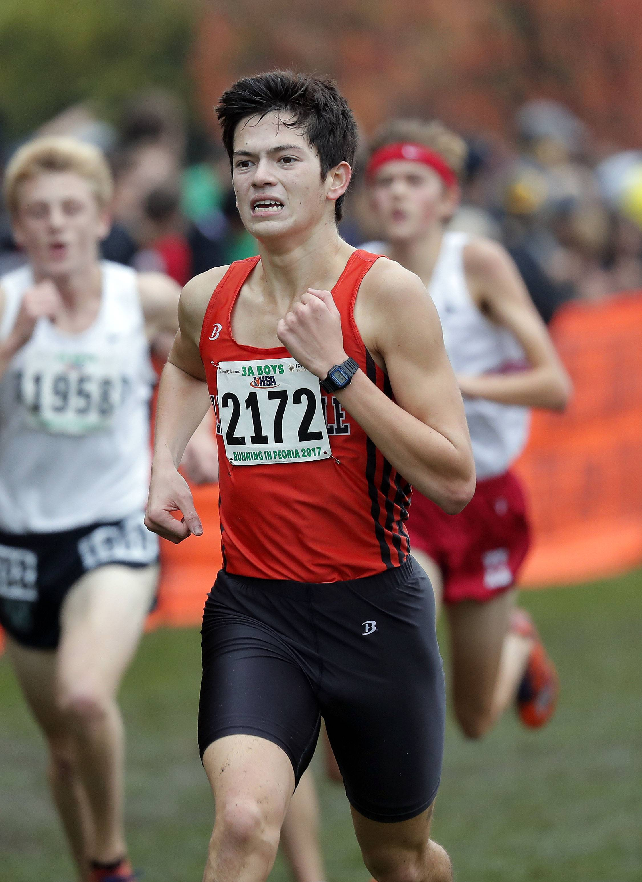 Libertyville's Alex Tam competes during the Class 3A boys cross country finals Saturday in Peoria.