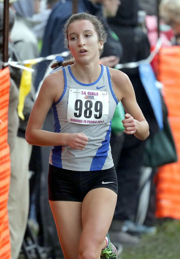 Vernon Hills' Lauren Katz runs in the Class 2A girls cross country state finals Saturday in Peoria.
