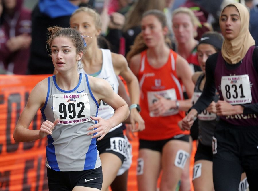 Vernon Hills' Ryan Schofield (992) runs in the Class 2A girls cross country state finals Saturday in Peoria.