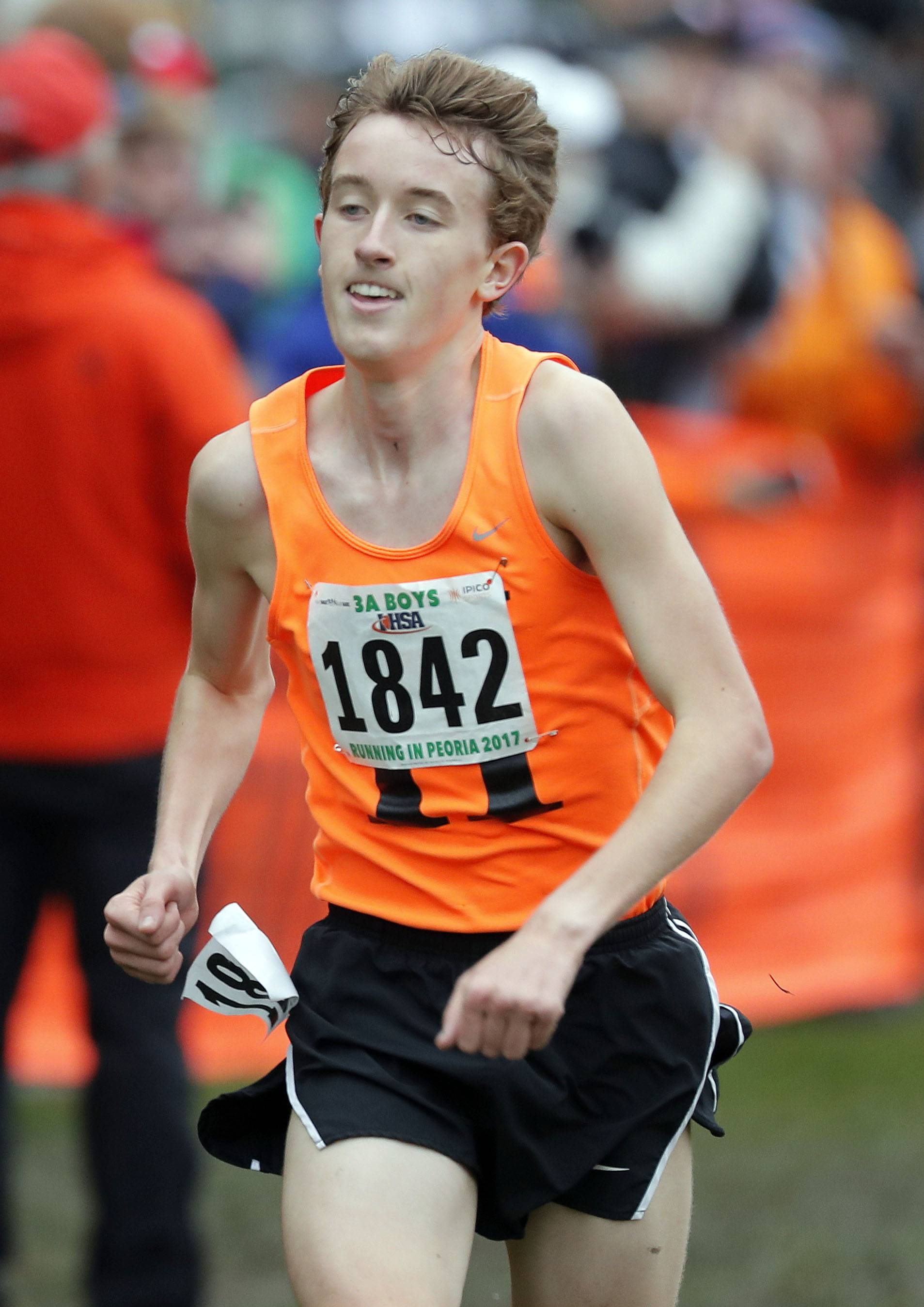 Hersey's Josh Methner charges toward the chute during the Class 3A boys cross country state finals Saturday in Peoria.