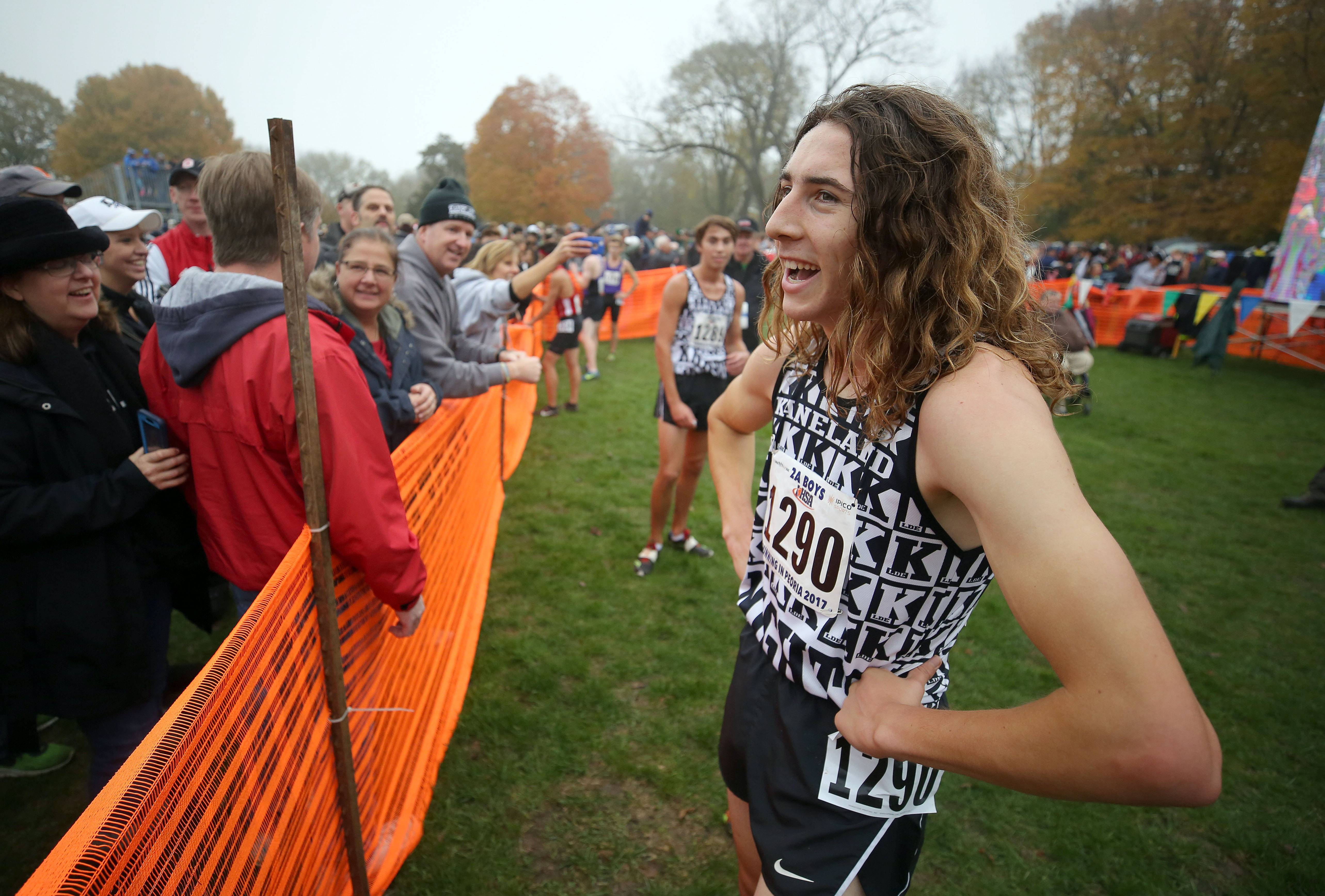 Kaneland's Matthew Richtman smiles after winning the boys Class 2A cross country finals Saturday in Peoria.