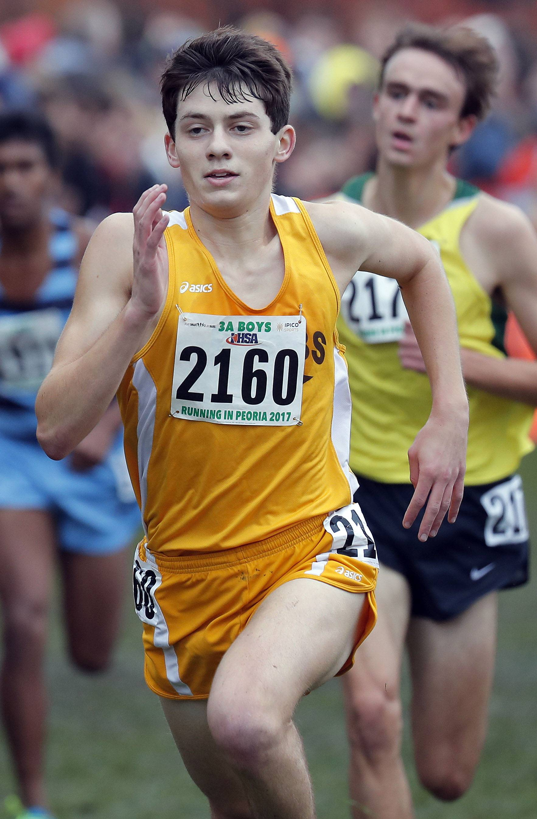 Jacobs' Zach Albrecht (2160) powers to the finish during the boys Class 3A cross country finals Saturday in Peoria.