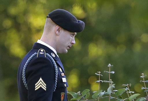 Army Sgt. Bowe Bergdahl leaves the Fort Bragg courtroom facility as the judge deliberates during a sentencing hearing at Fort Bragg, N.C., Friday, Nov. 3, 2017.  The judge ruled that Bergdahl to get dishonorable discharge, lose rank, forfeit pay in addition to getting no prison time. Bergdahl, walked off his base in Afghanistan in 2009 and was held by the Taliban for five years, pleaded guilty to desertion and misbehavior before the enemy.