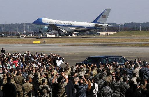 Air Force One, with U.S. President Donald Trump and first lady Melania Trump onboard, arrives at the U.S. Yokota Air Base, on the outskirts of Tokyo, Sunday, Nov. 5, 2017.  President Trump arrived in Japan Sunday on a five-nation trip to Asia, his second extended foreign trip since taking office and his first to Asia. The trip will take him to Japan, South Korea, China, Vietnam and Philippines for summits of the Asia-Pacific Economic Cooperation (APEC) and the Association of Southeast Asian Nations (ASEAN).