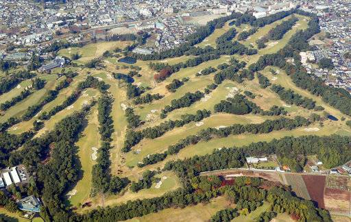 This Nov. 2, 2017, aerial photo shows Kasumigaseki Country Club in Kawagoe, outside of Tokyo. U.S. President Donald Trump and Japanese Prime Minister Shinzo Abe will meet on the golf course on Sunday, Nov. 5 before holding formal talks on Monday. (Miyuki Saito/Kyodo News via AP)