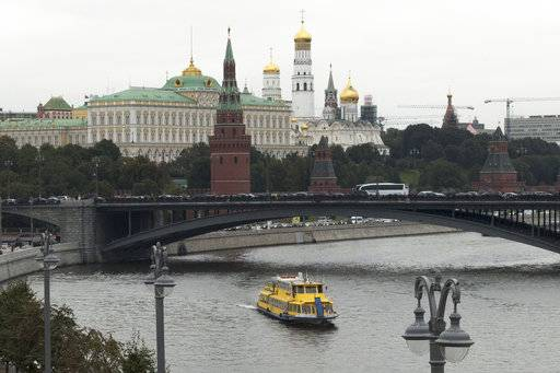 This Friday, Sept. 29, 2017 photo shows the Kremlin in Moscow. The hackers who intervened in America's 2016 presidential contest cast their net far wider than has previously been reported, The Associated Press has found. Data obtained from threat intelligence firm Secureworks provides the most explicit evidence yet that the hacking group known as Fancy Bear operates in close alignment with the Russian government's interests.