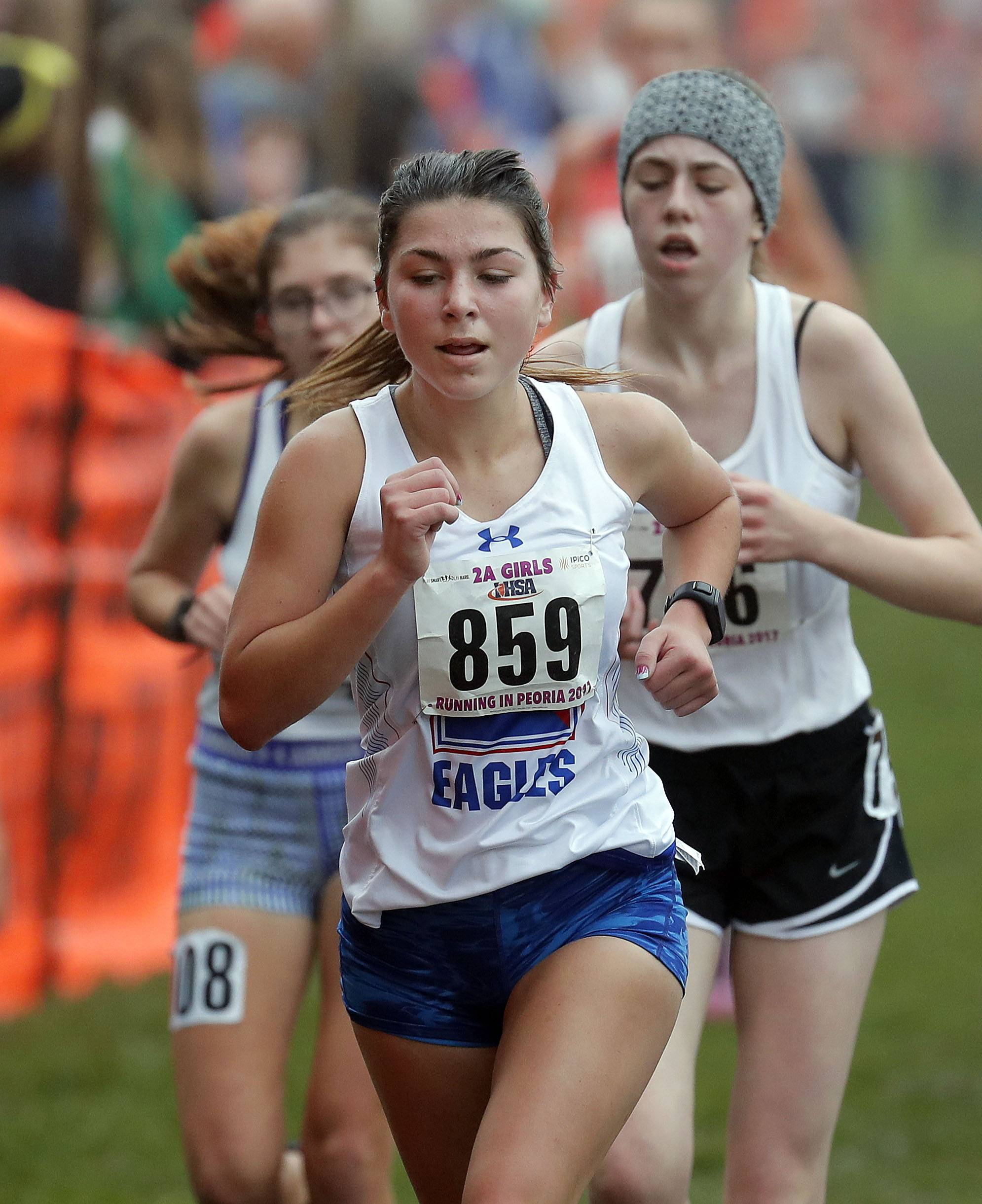 Lake's Hannah Grant (859) runs in the Class 2A girls cross country finals Saturday in Peoria.
