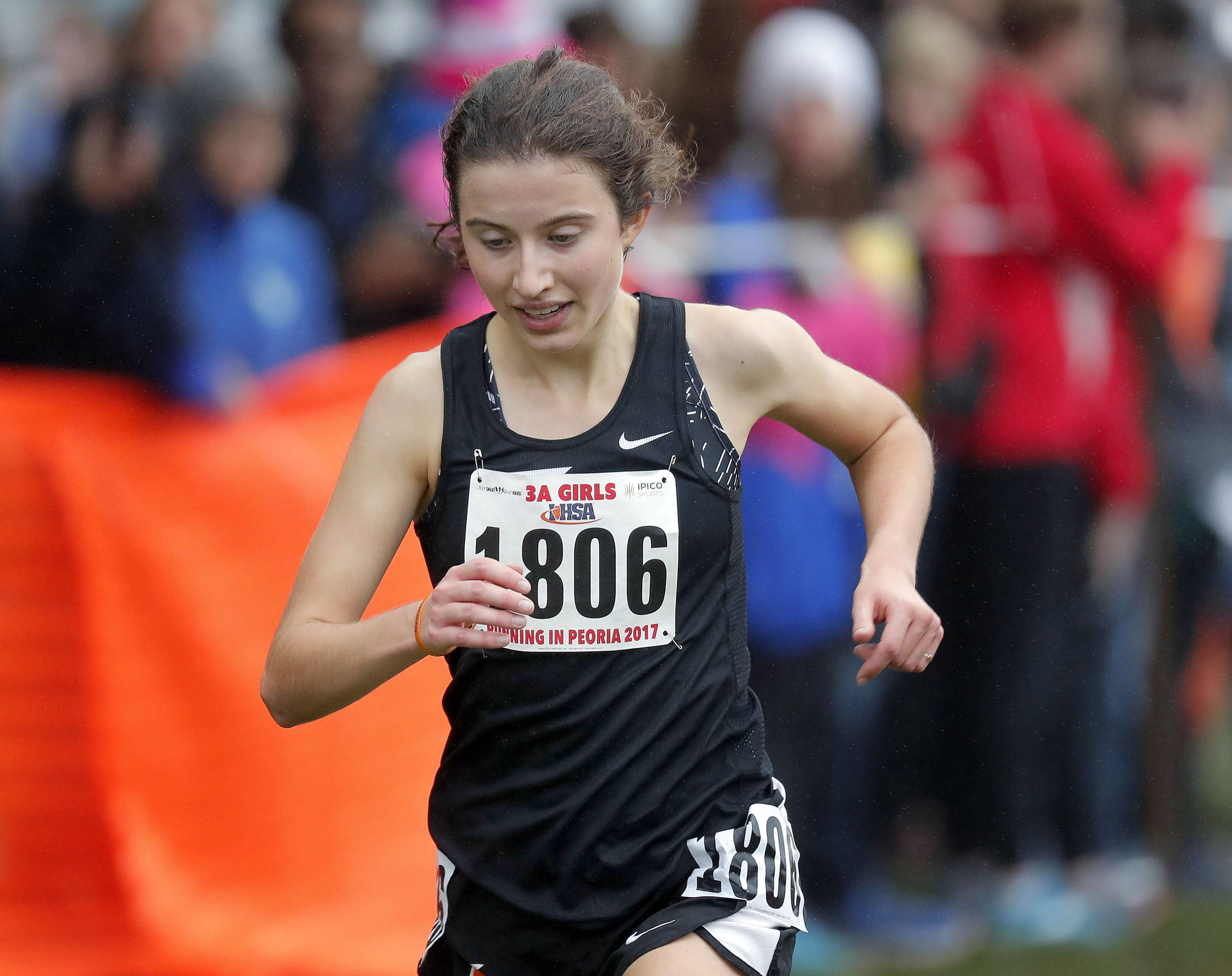 Libertyville's Melissa Manetsch (1806) heads to the finish during the Class 3A girls cross country finals Saturday in Peoria.