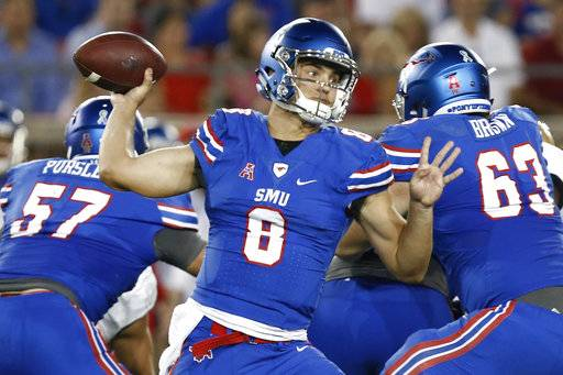SMU quarterback Ben Hicks (8) passes against Central Florida during the first half of an NCAA college football game, Saturday, Nov. 4, 2017, in Dallas.