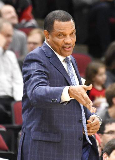 New Orleans Pelicans head coach Alvin Gentry gives instructions to his team during the first half of an NBA basketball game against the Chicago Bulls, Saturday, Nov. 4, 2017, in Chicago.