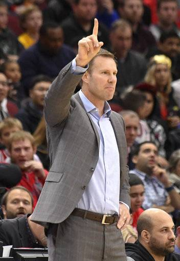 Chicago Bulls head coach Fred Hoiberg gives instructions to his team during the first half of an NBA basketball game against the New Orleans Pelicans, Saturday, Nov. 4, 2017, in Chicago.