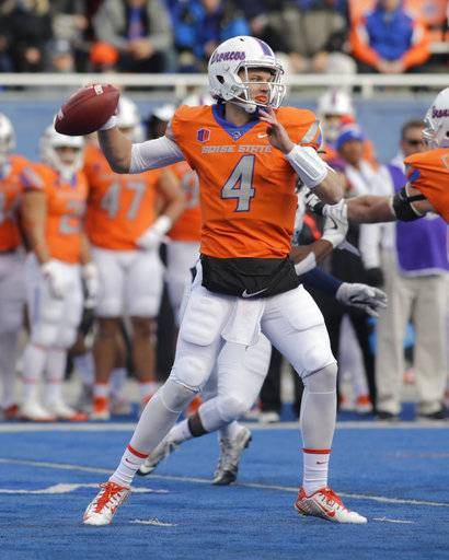 Boise State quarterback Brett Rypien (4) passes during the first half of an NCAA college football game against Nevada in Boise, Idaho, Saturday, Nov. 4, 2017.