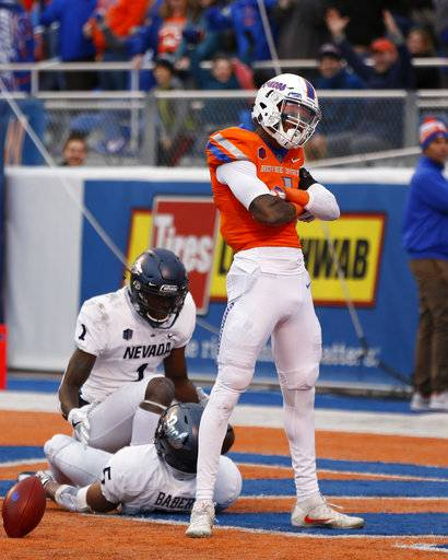 Boise State wide receiver Cedrick Wilson (1) poses after a touchdown during the first half of an NCAA college football game against Nevada in Boise, Idaho, Saturday, Nov. 4, 2017.