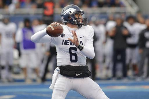 Nevada quarterback Ty Gangi (6) passes during the first half of an NCAA college football game against Boise State in Boise, Idaho, Saturday, Nov. 4, 2017.