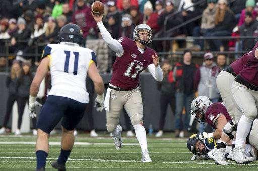 Montana quarterback Makena Simis (17) throws a pass against Northern Arizona in an NCAA college football game Saturday, Nov. 4, 2017, in Missoula, Mont.